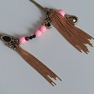 J. Crew Jewelry - J. Crew long gold tassle necklace with pink stones